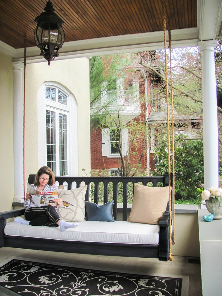 Gorgeous porch swing cushions in Porch Traditional with Bench Swing next to Front Porch Bench alongside Bed Swing and Beautiful Front Porch