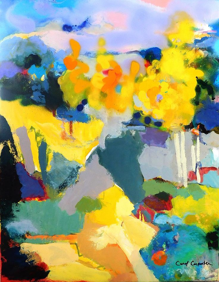 "CAROL CARPENTER, ""Yellow Trumpet,"" Acrylic on Canvas, 28"" x 22"""