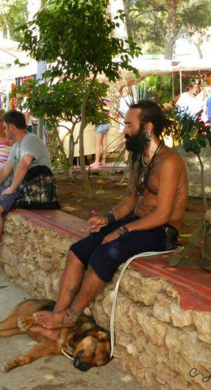 Man and dog, Hippy Market, Ibiza, 2012