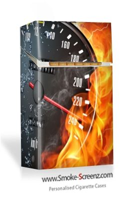 Brilliant graphics and resolution on this cigarette case cover from www.smoke-screenz.com of a flaming speedometer