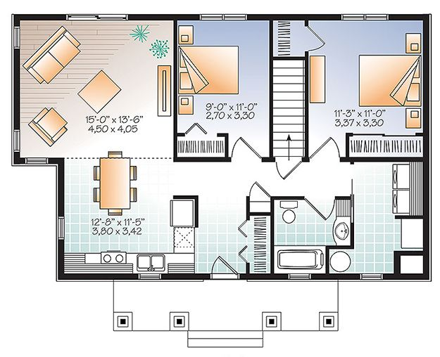 House Plan 034 01090 Contemporary Plan 1 007 Square Feet 2 Bedrooms 1 Bathroom House Plans House Layout Plans Small Living Room Design
