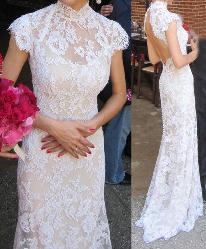 Custom make! 2012 wedding formal dress fashion bag cheongsam style vintage lace fish tail racerback train advanced $165.26