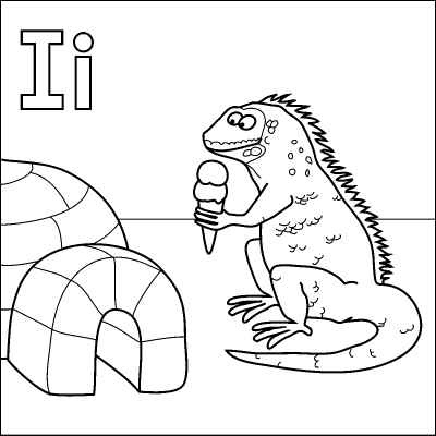 letter i coloring page igloo iquana icecream from http - I Coloring Page