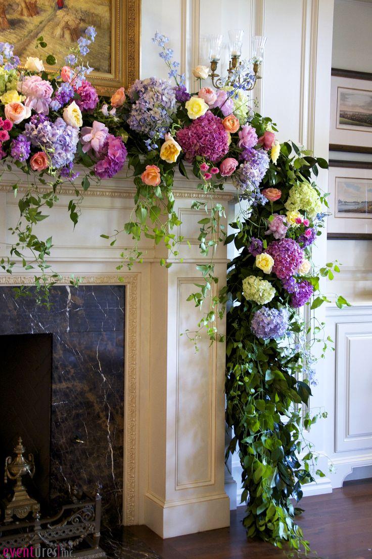 flowers over mantel wedding flowers romantic candles eventures okc flower power. Black Bedroom Furniture Sets. Home Design Ideas