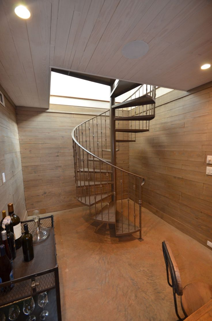 Stairs to wine room