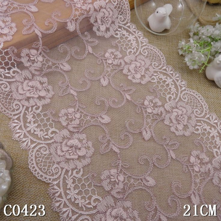 3yd peach pink tulle embroidery lace fabric DIY craft sewing trim dress L1503 #Unbranded