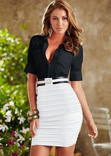 White Pencil Skirt Black Blouse and Skinny Black Belt