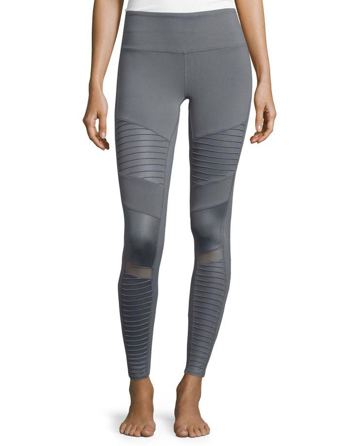 Moto Full-Length Sport Leggings, Women's, Size: XS, Cadet Grey Glossy - Alo Yoga