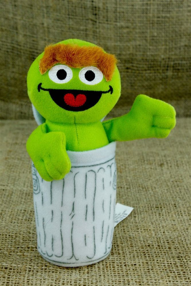 "Sesame Street Oscar Grouch 6"" Plush Stuffed Toy Garbage Can Fisher Price P25"