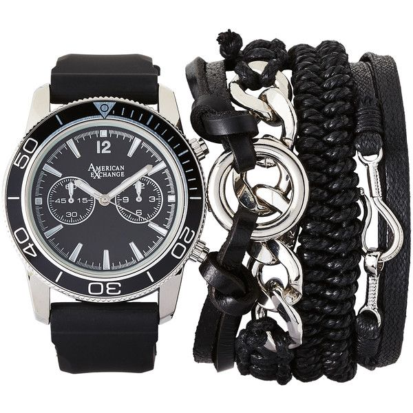 American Exchange MST5466 Silver-Tone & Black Watch & Bracelet Set ($27) ❤ liked on Polyvore featuring men's fashion, men's jewelry, men's watches, white, mens leather strap watches, mens stainless steel watches, mens watch bracelet, mens watches jewelry and mens bracelet watch