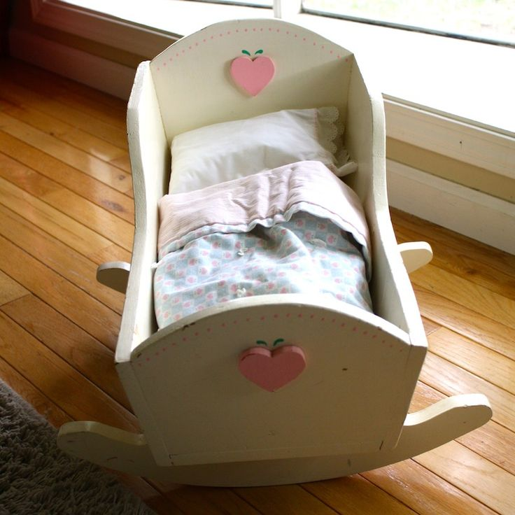 Restored vintage baby doll cradle love craftiness pinterest so cute baby dolls and heart Wooden baby doll furniture