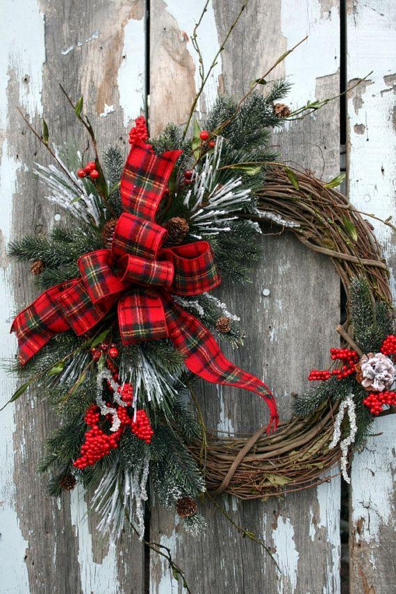grapevine wreath Love the plaid ribbon!