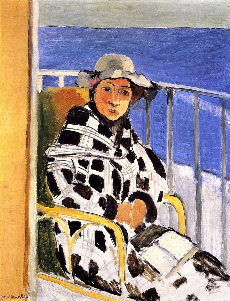 bofransson:           Mlle Matisse em um casaco xadrez escocês Henri Matisse - 1918