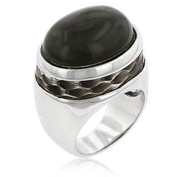 Genuine Rhodium Plated Smokey Topaz Cubic Zirconia Cocktail Ring with Snakeskin Band Polished into a Lustrous Silvertone Finish