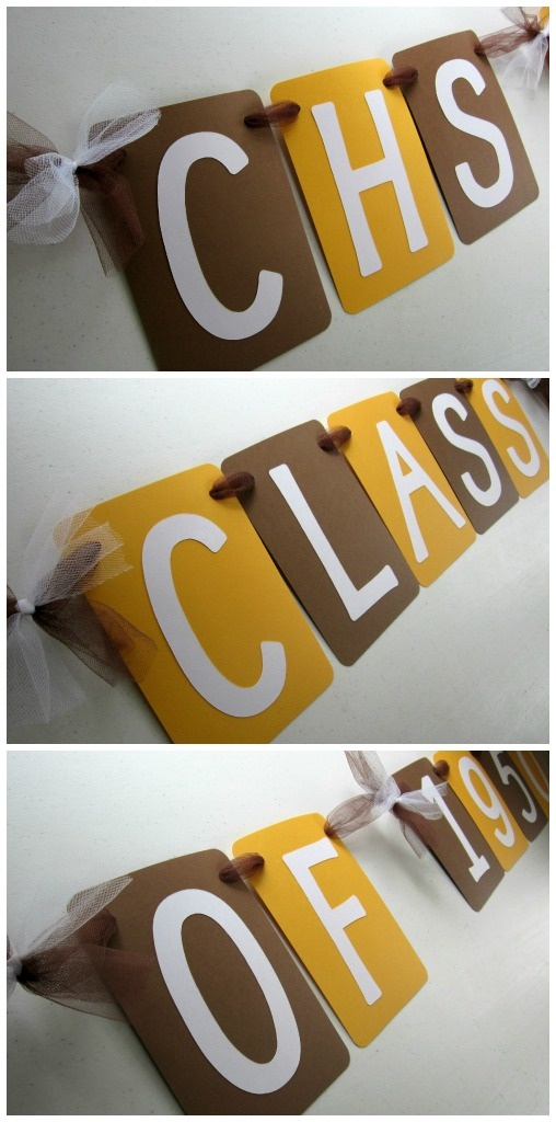 Class reunion banner. Can be fully customized with school colors. By Banana Lala Party Designs on Etsy. http://www.etsy.com/shop/BananaLala