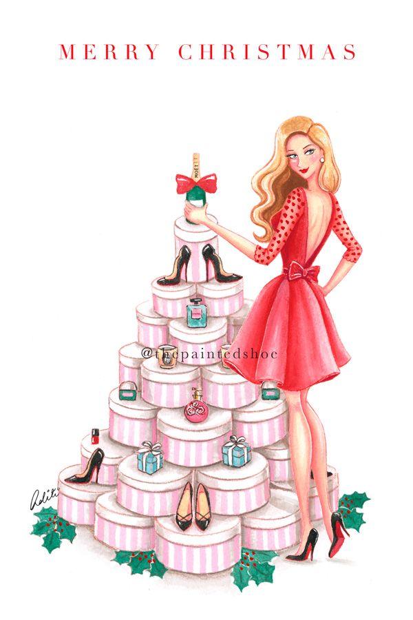 Custom christmas card, fashion, shopping, gifts, holiday cards, xmas, personalise, louboutin, tiffany
