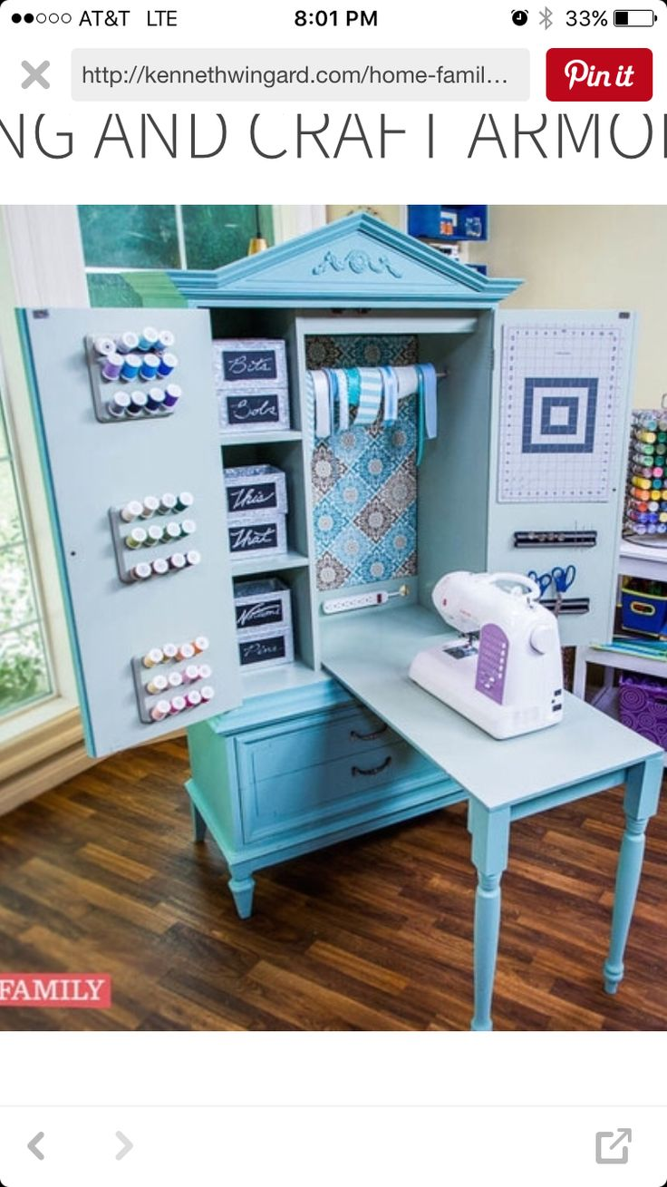 this is a pretty nifty tucked away great use of space when you need it kinda sewing armoire