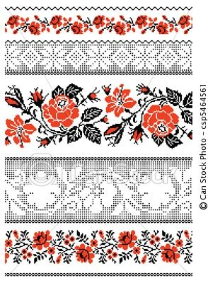 Vector - Ukrainian embroidery towel - stock illustration, royalty free illustrations, stock clip art icon, stock clipart icons, logo, line art, EPS picture, pictures, graphic, graphics, drawing, drawings, vector image, artwork, EPS vector art