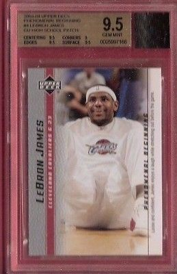 LEBRON JAMES WORN HIGH SCHOOL JERSEY PATCH & ROOKIE card GRADED BGS GEM MINT 9.5