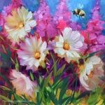 Caribbean Blue White Hydrangeas and a Tennessee Workshop by Texas Flower Artist Nancy Medina, original painting by artist Nancy Medina | DailyPainters.com