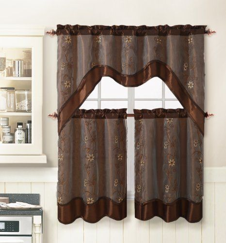 3 Piece Kitchen Window Curtain Treatment Set: 2 Layer, Embroidered Sheer Design, 2 Tiers and 1 Valance (CHOCOLATE) Victoria Classics http://www.amazon.com/dp/B00IW9C7S4/ref=cm_sw_r_pi_dp_6J3Itb1PADBHG8MV