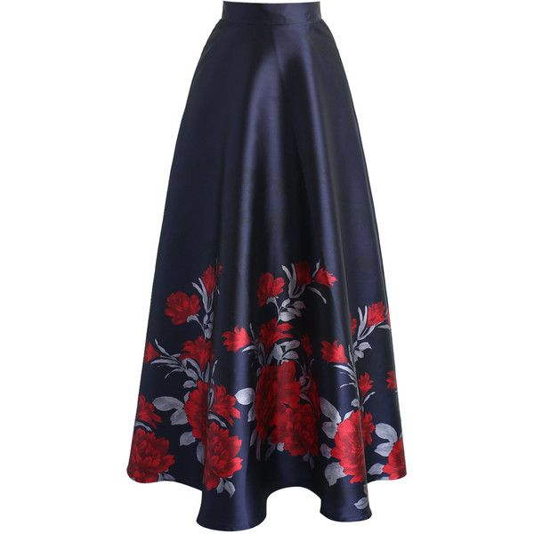 Chicwish Peony Serenade Printed Maxi Skirt ($51) ❤ liked on Polyvore featuring skirts, black, long skirts, floor length skirts, maxi skirt and ankle length skirt