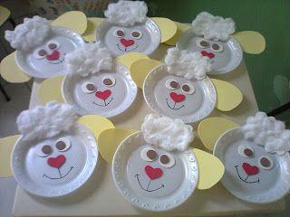 Soft Ideias: Ovelha feita com prato descartável