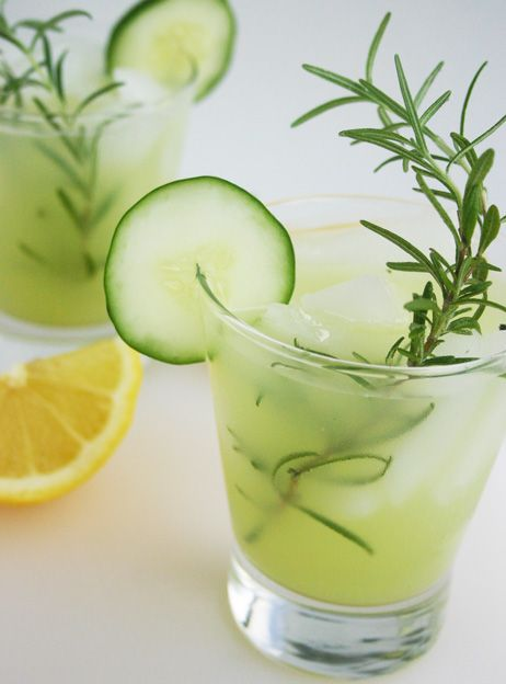 Summer mocktail for Phase 2 of the #FastMetabolismDiet: Refreshingly sweet, Rosemary-Infused Cucumber Lemonade. Get the recipe from our newsletter.