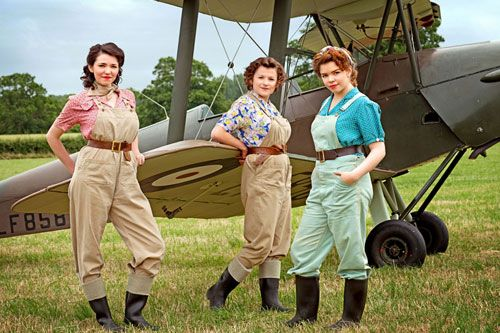 Image from Land Girls Series 2, Episode 1. Connie Carter - Joyce Fisher - Bea Finch