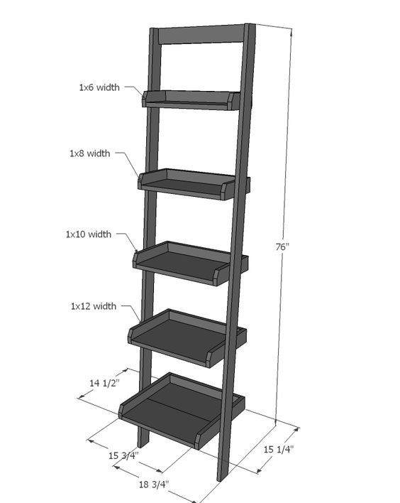 Ana White   Build a Leaning Ladder Wall Bookshelf   Free and Easy DIY Project and Furniture Plans
