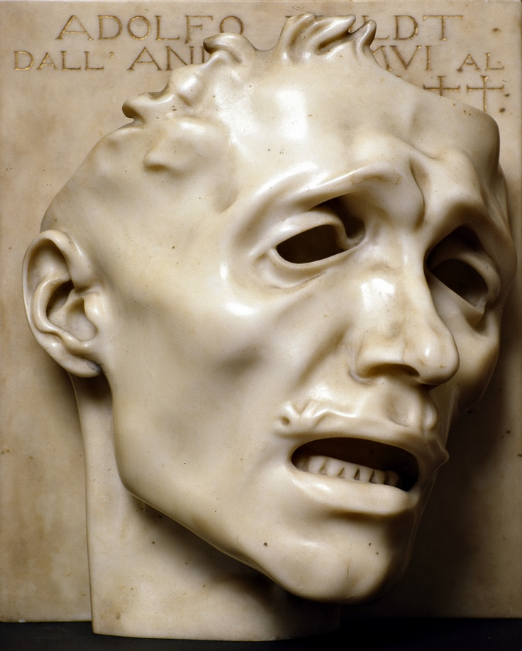 Adolfo Wildt, Mask of Sadness (self-portrait), 38.2 cm high, marble, 1909 (private collection). One of the earliest truly modern sculptors, these days Adolfo Wildt (1868-1931) is all but forgotten outside his native Milan. @Deidré Wallace