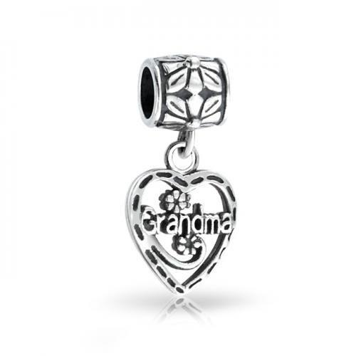 Bling Jewelry Grandma Vintage Heart 925 Sterling Dangle Bead Pandora Compatible