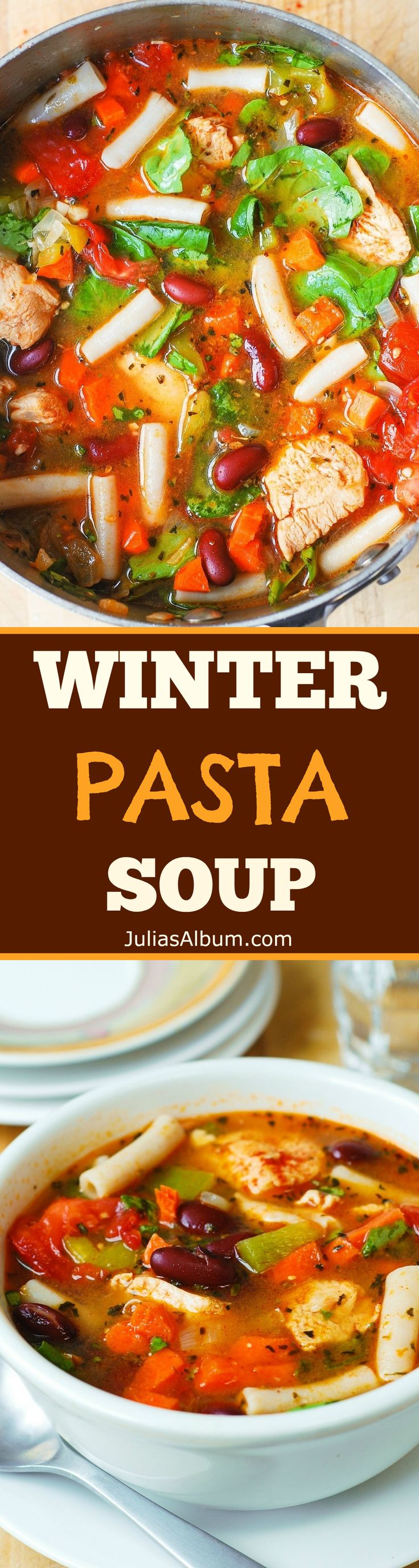 Winter pasta soup with chicken and vegetables: gluten free, healthy, delicious, easy-to-make! Spinach, bell pepper, carrots, tomatoes, and beans.