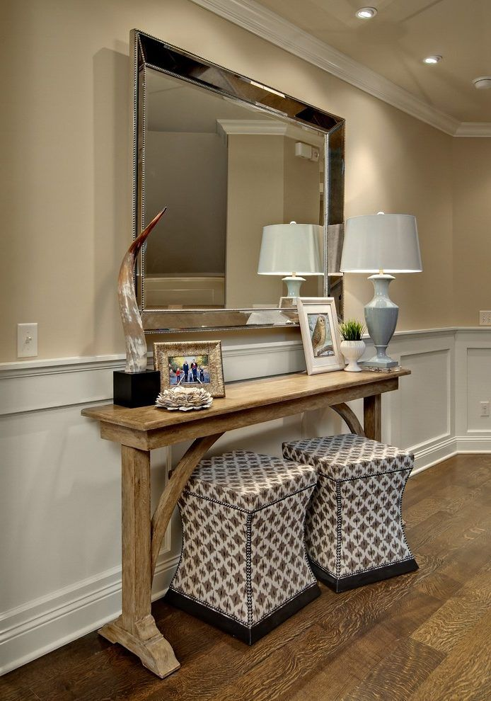 Extra long console entry traditional with console table ottomans under console