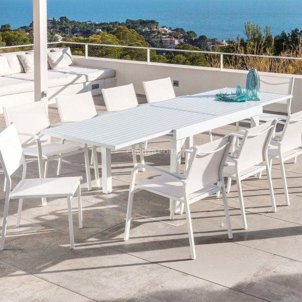 Table De Jardin Extensible 10 Places Aluminium Murano 270 X 90 Cm Blanche Salon De Jardin Table Et Chaise En 2020 Table De Jardin Table Et Chaises Deco Terrasse Exterieure