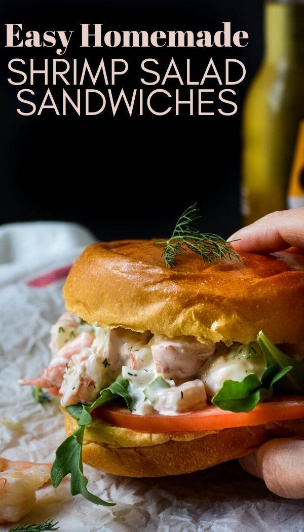 Easy Poached Shrimp Salad Sandwich Recipe Shrimp Salad Sandwich Easy Seafood Frozen Cooked Shrimp