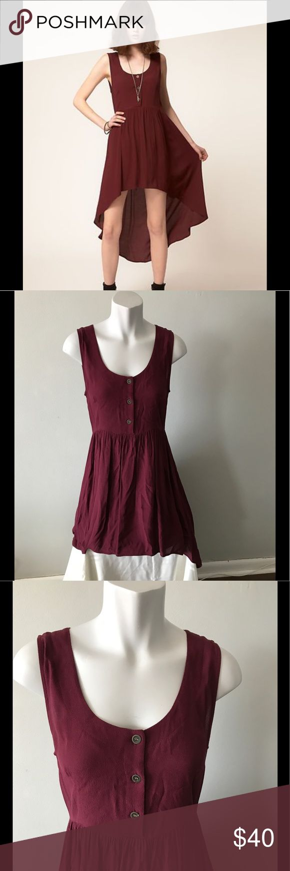 Evil Twin Burgundy High Low Hem Maxi Skirt Dress Gently pre loved condition. *Measured flat* Across shoulders: 14in. Across chest (under arm to under arm): 19in. Across waist: 16in. Top to bottom hem (back): 46in Evil Twin Dresses High Low