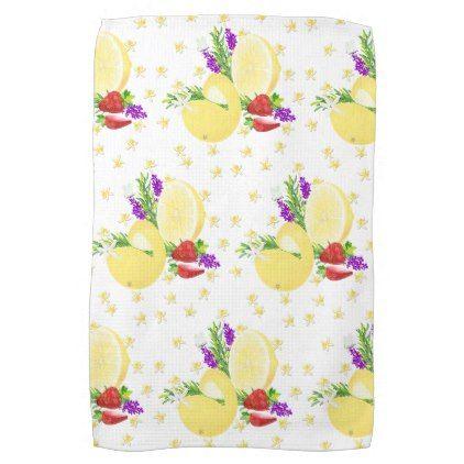 Lemon Strawberry Citrus Fruits Floral Botanical Kitchen Towel - kitchen gifts diy ideas decor special unique individual customized
