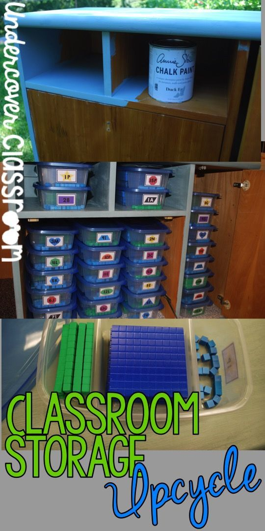 Check out your local thrift stores for classroom storage solutions. See how this teacher turned an old piece of furniture into an awesome storage cabinet for place value materials.