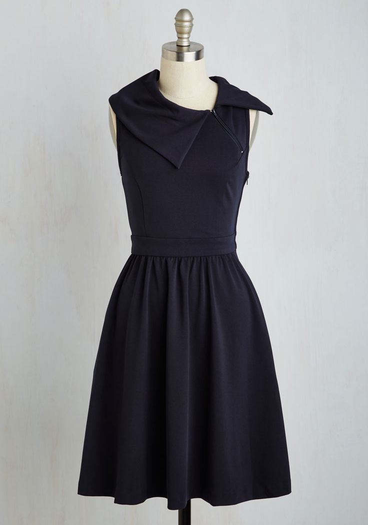 True Story: I bought this Modcloth dress from WALMART tonight for $10. Trolley Tour Dress in Navy by ModCloth - Blue, Solid, Casual, A-line, Strapless, Knit, Better, Variation, Long, Colorsplash