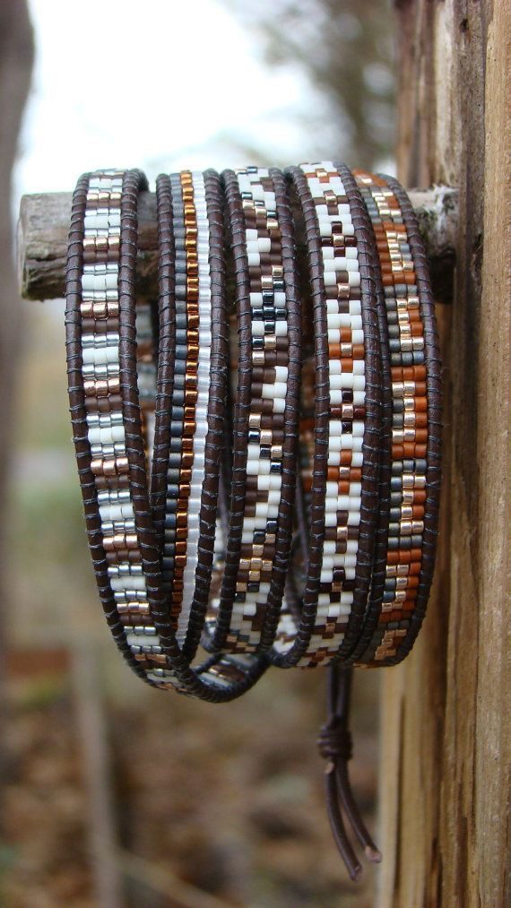 Five Wrap Bracelet with Brown Leather Cord in Rich by OnAWhimInc, $80.00