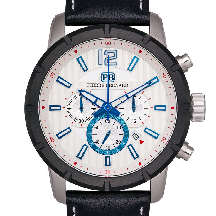 Pierre Bernard Men's Steeplechase Chronograph Watch Multi-Level Textured Dial Genuine Superluminova