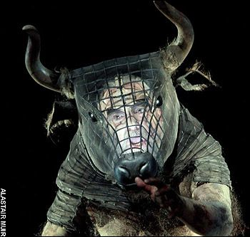 Cool idea for a mask, with chicken wire shaped for the head and foam shaped horns