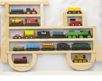 Wooden Wall Storage Train Engine Rack Organizer Display For Thomas The Tank  Engine And Brio Wood Tracks