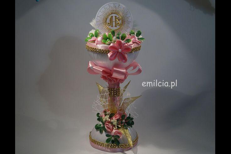 Pamiątka I Komunii Św. lub Chrztu Św., Piękna Ozdoba stołu Komunijnego Kielich Różowy dla dziewczynki :) http://emilcia.pl/ (y) Komunia Pierwsza Komunia Święta Chrzest Święty