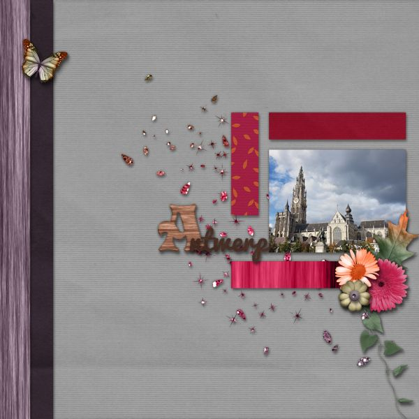 Antwerp - digital scrapbook layout I created using Dreaming of Change and September 2016 Template Pack both by Designs by Romajo at With Love Studio. I love the grey, purple and pink colors, the wooden papers and the lovely fall elements of the kit and the great straight lines in the templates.