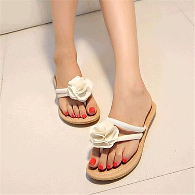 Womens Summer Slippers Canvas Tulle Casual Low Heel Flower Black Blue White