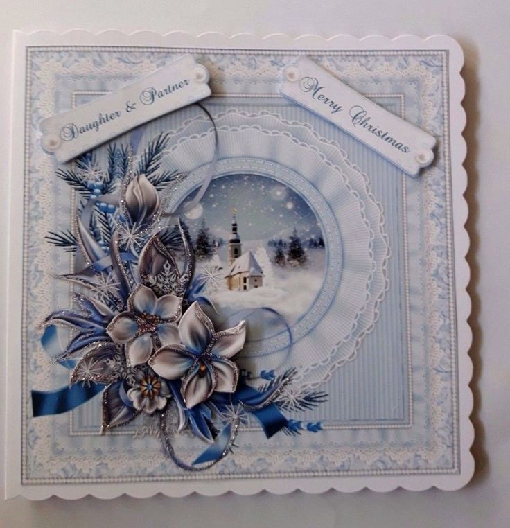 Handmade Christmas card for Daughter & Partner with 3D winter flowers