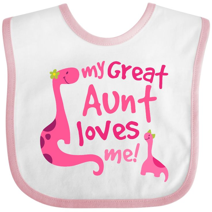 46 best niece and nephew gifts images on pinterest nephew gifts my great aunt loves me dino baby bib white and pink 999 personalizedfamilytshirts negle Images