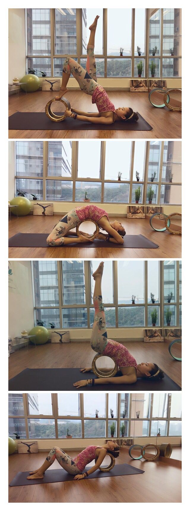 So, this pin has nothing to do with the yoga wheel but with the room – I'm not sure why I've never thought about it before but, in whatever house I have, I want to have a room dedicated to just yoga…hardwood floors, big windows for natural light, mirrors to check position/pose/alignment…